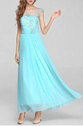 Beaded Sheer Backless Maxi Cocktail Prom Dress