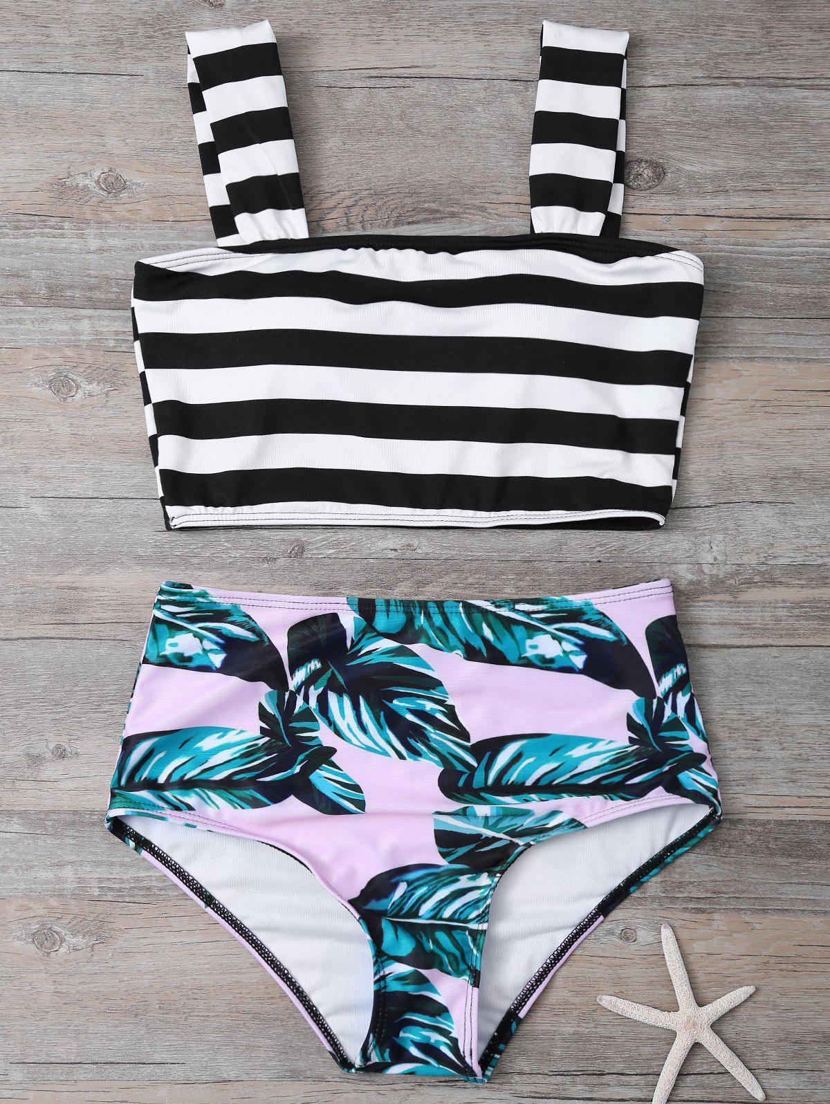 Tropical Print High Waisted Bikini with Crop TopWOMEN<br><br>Size: L; Color: COLORMIX; Swimwear Type: Bikini; Gender: For Women; Material: Polyester; Bra Style: Unlined; Support Type: Wire Free; Neckline: Square; Pattern Type: Print; Waist: Natural; Elasticity: Elastic; Weight: 0.2200kg; Package Contents: 1 x Top  1 x Briefs;