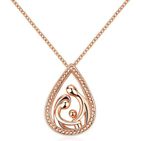 Teardrop Family Pendant NecklaceJEWELRY<br><br>Color: ROSE GOLD; Item Type: Pendant Necklace; Gender: For Women; Necklace Type: Link Chain; Style: Trendy; Shape/Pattern: Water Drop; Length: 44+5cm; Weight: 0.040kg; Package Contents: 1 x Necklace;
