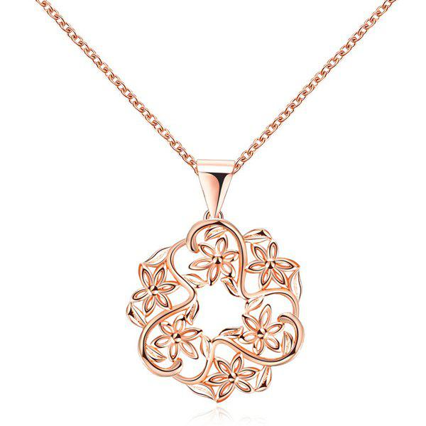 Hollow Out Floral Pendant NecklaceJEWELRY<br><br>Color: ROSE GOLD; Item Type: Pendant Necklace; Gender: For Women; Necklace Type: Link Chain; Style: Trendy; Shape/Pattern: Floral; Length: 44+5cm; Weight: 0.040kg; Package Contents: 1 x Necklace;
