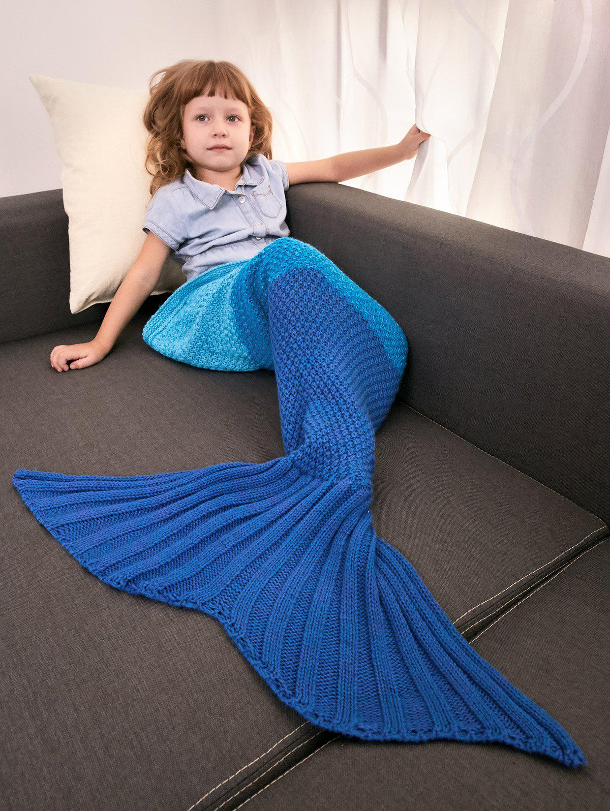 Color Block Warm Mermaid Free Knitted Blankets For KidsHOME<br><br>Color: BLUE; Type: Knitted; Material: Acrylic; Pattern Type: Others; Size(L*W)(CM): 95*80CM; Weight: 0.396kg; Package Contents: 1 x Blanket Throw;