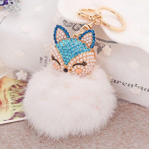 Fake Pearl Rhinestone Fox Fuzzy Puff Ball KeychainJEWELRY<br><br>Color: BLUE; Gender: For Women; Style: Trendy; Shape/Pattern: Animal; Weight: 0.060kg; Package Contents: 1 x Keychain;