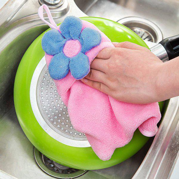 Fashion Coral Fleece Floral Strong Absorbent Hanging Hands Towel