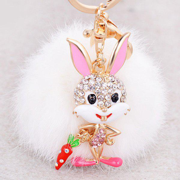 Sale Rhinestone Rabbit Fuzzy Puff Ball Keychain