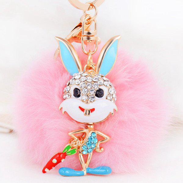 Rhinestone Rabbit Fuzzy Puff Ball KeychainJEWELRY<br><br>Color: PINK; Gender: For Women; Style: Trendy; Shape/Pattern: Animal; Weight: 0.060kg; Package Contents: 1 x Keychain;