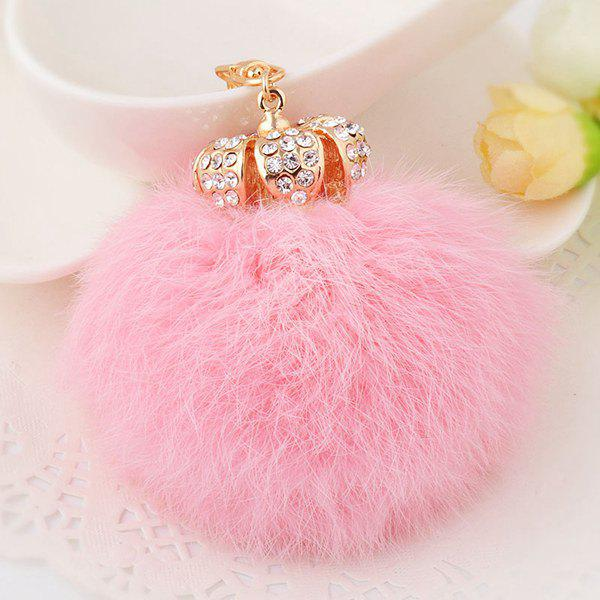 Cheap Rhinestone Crown Fuzzy Puff Ball Keychain