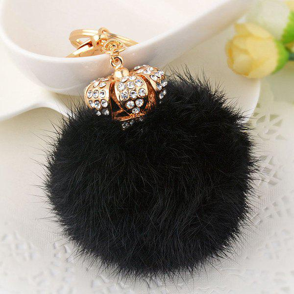 Rhinestone Crown Fuzzy Puff Ball KeychainJEWELRY<br><br>Color: BLACK; Gender: For Women; Style: Trendy; Shape/Pattern: Ball; Weight: 0.060kg; Package Contents: 1 x Keychain;