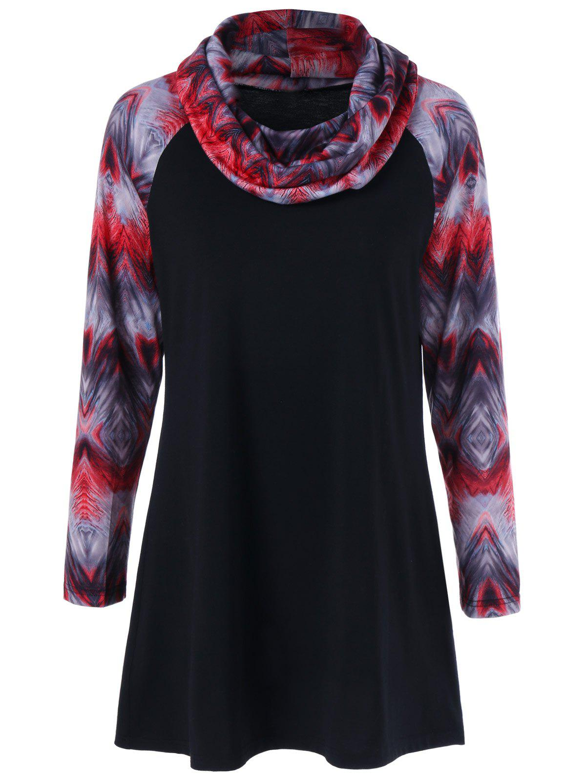 Unique Printed Tunic Raglan Sleeves T-Shirt