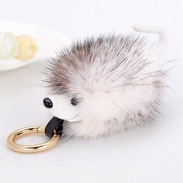 Hedgehog Fuzzy Ball KeychainJEWELRY<br><br>Color: WHITE; Gender: For Women; Style: Trendy; Shape/Pattern: Ball; Weight: 0.060kg; Package Contents: 1 x Keychain;