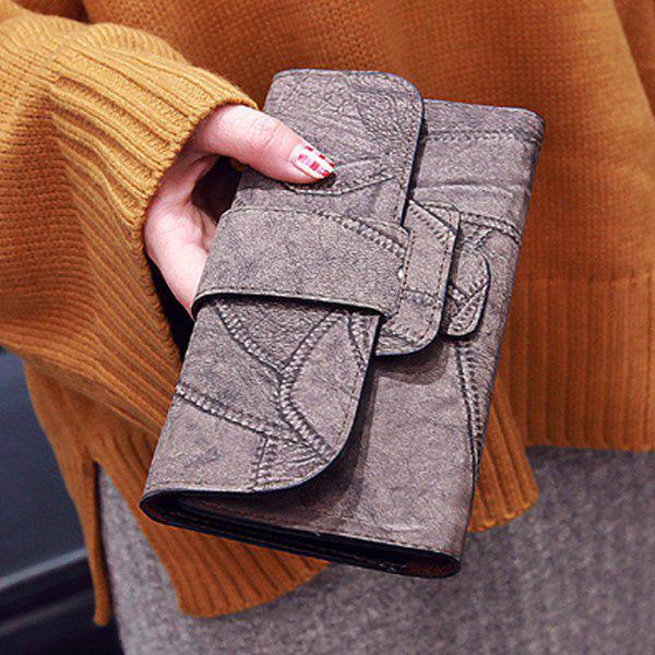 Snap Closure Faux Leather Wallet - Greyish Brown