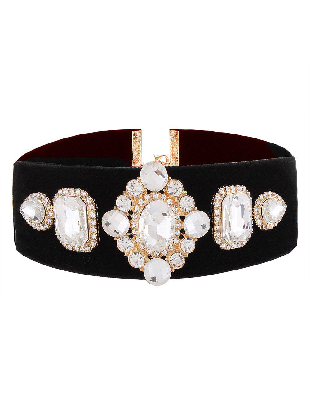 Affordable Rhinestone Geometric Velvet Choker
