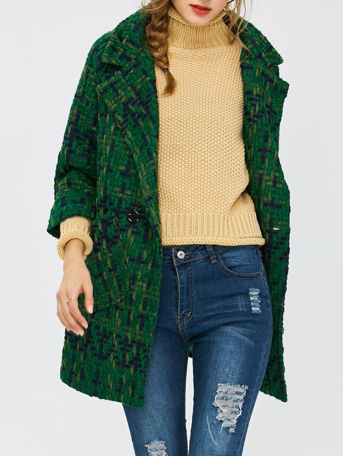 Chic Wool Blend Plaid Coat with Pockets