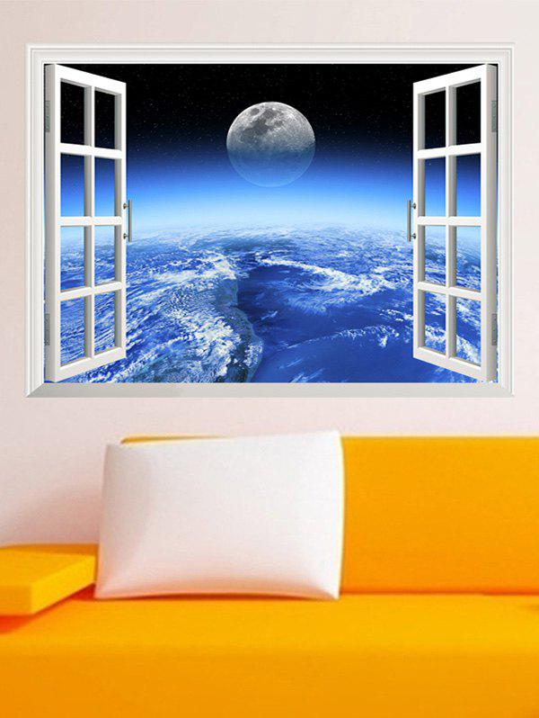 3D Vinyl Wall Stickers Planet Living RoomHOME<br><br>Color: BLUE; Wall Sticker Type: 3D Wall Stickers; Functions: Decorative Wall Stickers; Theme: Landscape; Material: PVC; Feature: Removable; Size(L*W)(CM): 87*55; Weight: 0.396kg; Package Contents: 1 x Wall Stickers;