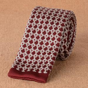 Dot Pattern Wide Knitted Neck Tie - Coffee