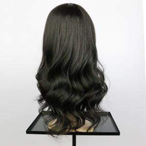 Long Inclined Bang Wavy Synthetic Wig - BLACK