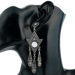 Vintage Triangle Carved Rhinestone Earrings -