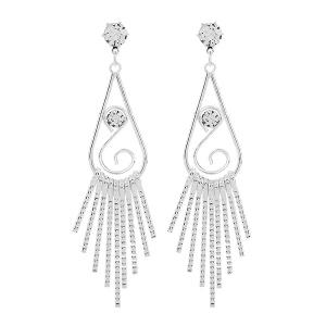 Zircon Water Drop Dangle Earrings - Silver - Size S