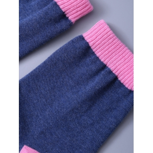 Funny Letter Graphic Pattern Color Block Knitted Socks - WATERMELON RED