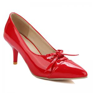 Pointed Toe Bowknot Pumps - Red - 39