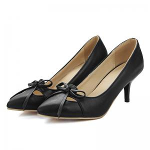 Faux Leather Pointed Toe Pumps - BLACK 38