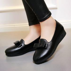 Bowknot Round Toe Flat Shoes - BLACK 39