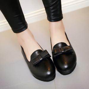 Bowknot Round Toe Flat Shoes -