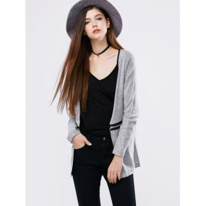 Zipper Open Front Cardigan - LIGHT GRAY M