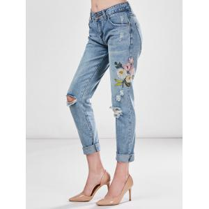 Light Wash Embroidered Ripped Jeans -