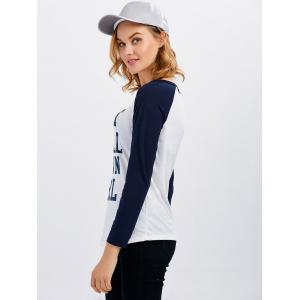 Smile Letter Raglan Sleeve Baseball Tee - WHITE 2XL