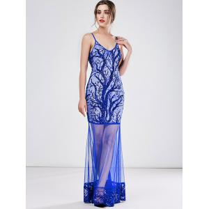 Sequined Mesh See-Througn Sexy Maxi Cami Dress - BLUE L