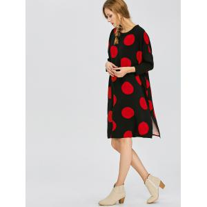 Polka Dot Casual Dress With Double Pocket - RED/BLACK M