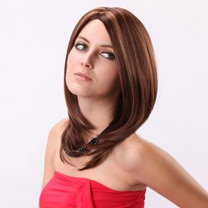 Medium Silky Straight Bob Side Parting Colormix Synthetic Wig -