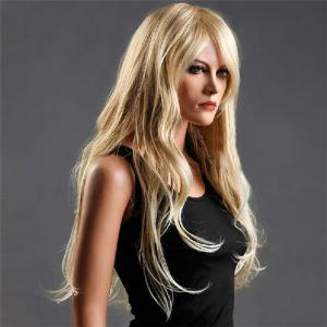 Long Side Bang Fluffy Wavy Colormix Synthetic Wig -