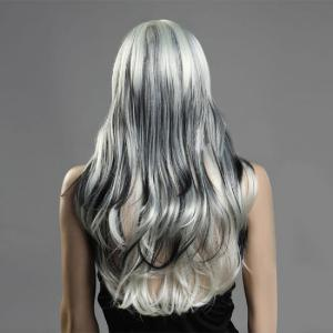 Long Oblique Bang Fluffy Wavy Colormix Synthetic Wig -