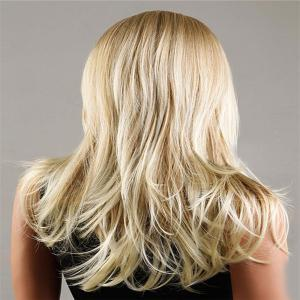 Long Zigzag Parting Fluffy Slightly Curled Synthetic Wig - FLAX
