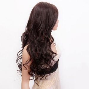 Long Side Parting Fluffy Layered Wavy Synthetic Wig -