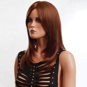 Long Side Parting Fluffy Slightly Curled Synthetic Wig -