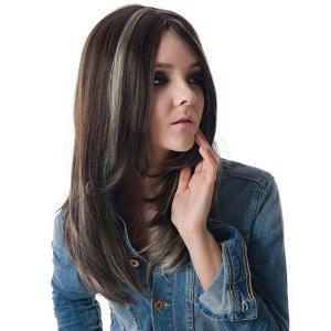 Long Highlight Side Parting Straight Synthetic Wig -