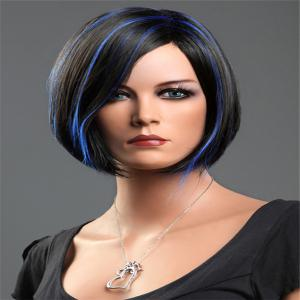 Short Side Parting Highlight Bob Silky Straight Synthetic Wig -
