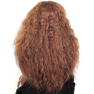 Long Side Bang Shaggy Curly Synthetic Wig - FLAXEN