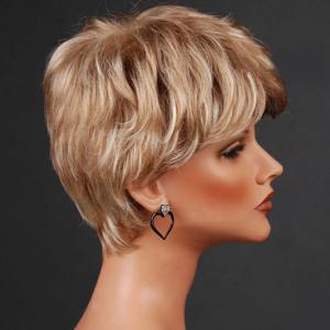 Short Layered Inclined Bang Straight Colormix Synthetic Wig -
