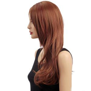 Long Middle Parting Slightly Curled Shaggy Synthetic Wig -