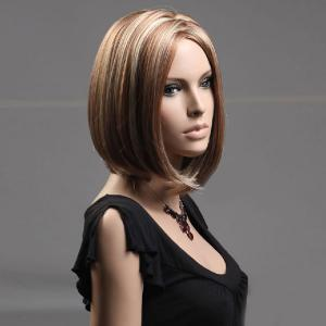 Short Zigzag Parting Colormix Silky Straight Bob Synthetic Wig -