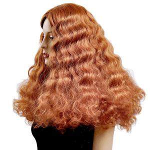 Long Water Wave Middle Parting Shaggy Synthetic Wig - RED BROWN /