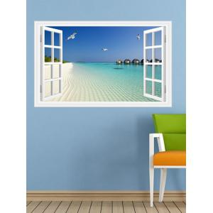Vinyl Window Design 3D Beach Wall Stickers Home Decoration