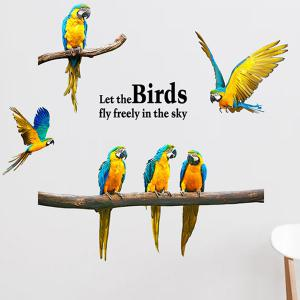 Removable Parrot Bird DIY Wall Stickers - BLUE/YELLOW