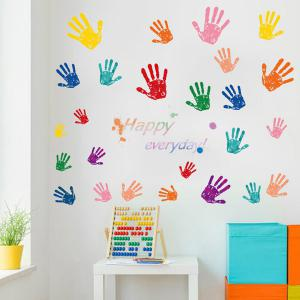 Vinyl Hands Pattern Home Decor Wall Art Stickers - COLORFUL