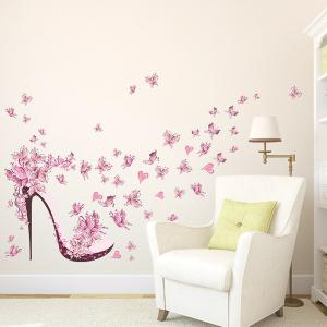 ... High Heels Butterfly Flower Wall Stickers For Bedrooms ...