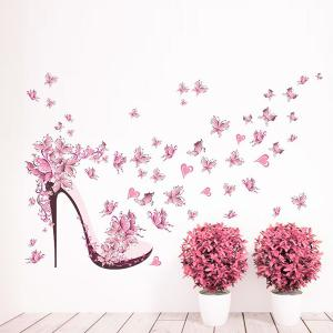 High Heels Butterfly Flower Wall Stickers For Bedrooms - Pink