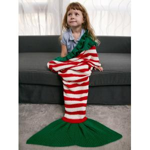 Ruffles Edge Crochet Knit Striped Mermaid Blanket Throw For Kids - Colormix - One Size(fit Size Xs To M)